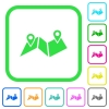 Route plan vivid colored flat icons - Route plan vivid colored flat icons in curved borders on white background