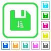 Ascending file sort vivid colored flat icons - Ascending file sort vivid colored flat icons in curved borders on white background