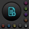 Add new document dark push buttons with vivid color icons on dark grey background - Add new document dark push buttons with color icons