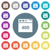 Browser 400 Bad Request flat white icons on round color backgrounds - Browser 400 Bad Request flat white icons on round color backgrounds. 17 background color variations are included.