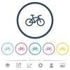 Bicycle flat color icons in round outlines. 6 bonus icons included. - Bicycle flat color icons in round outlines