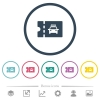 Taxi discount coupon flat color icons in round outlines - Taxi discount coupon flat color icons in round outlines. 6 bonus icons included.