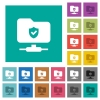 Protected FTP square flat multi colored icons - Protected FTP multi colored flat icons on plain square backgrounds. Included white and darker icon variations for hover or active effects.