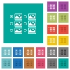 Single image selection with radio buttons square flat multi colored icons - Single image selection with radio buttons multi colored flat icons on plain square backgrounds. Included white and darker icon variations for hover or active effects.
