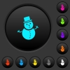 Snowman dark push buttons with vivid color icons on dark grey background - Snowman dark push buttons with color icons