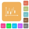 Candlestick graph with axes rounded square flat icons - Candlestick graph with axes flat icons on rounded square vivid color backgrounds.