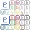 Download document outlined flat color icons - Download document color flat icons in rounded square frames. Thin and thick versions included.