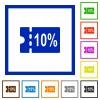 10 percent discount coupon flat framed icons - 10 percent discount coupon flat color icons in square frames on white background