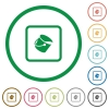 Fill object flat icons with outlines - Fill object flat color icons in round outlines on white background