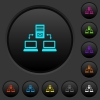 Multiple connections to mail server dark push buttons with color icons - Multiple connections to mail server dark push buttons with vivid color icons on dark grey background