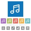 Music note flat white icons in square backgrounds - Music note flat white icons in square backgrounds. 6 bonus icons included.