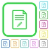 Edit document vivid colored flat icons - Edit document vivid colored flat icons in curved borders on white background