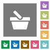 Shopping basket square flat icons - Shopping basket flat icons on simple color square backgrounds