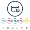 Ruble credit card flat color icons in round outlines. 6 bonus icons included. - Ruble credit card flat color icons in round outlines