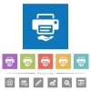 Shared printer flat white icons in square backgrounds - Shared printer flat white icons in square backgrounds. 6 bonus icons included.