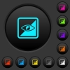 Invert object dark push buttons with color icons - Invert object dark push buttons with vivid color icons on dark grey background