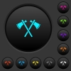 Two tomahawks dark push buttons with color icons - Two tomahawks dark push buttons with vivid color icons on dark grey background