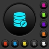Shrink database dark push buttons with color icons - Shrink database dark push buttons with vivid color icons on dark grey background