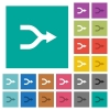 Merge arrows square flat multi colored icons - Merge arrows multi colored flat icons on plain square backgrounds. Included white and darker icon variations for hover or active effects.