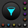 Funnel dark push buttons with color icons - Funnel dark push buttons with vivid color icons on dark grey background