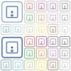 Move object down outlined flat color icons - Move object down color flat icons in rounded square frames. Thin and thick versions included.