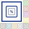 Scale object by percent flat framed icons - Scale object by percent flat color icons in square frames on white background