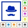 Incognito with mustache flat framed icons - Incognito with mustache flat color icons in square frames on white background