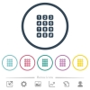 Numeric keypad flat color icons in round outlines. 6 bonus icons included. - Numeric keypad flat color icons in round outlines