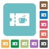 Coffee house discount coupon rounded square flat icons - Coffee house discount coupon white flat icons on color rounded square backgrounds