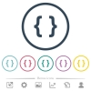 Programming code flat color icons in round outlines. 6 bonus icons included. - Programming code flat color icons in round outlines
