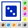 Dice three flat framed icons - Dice three flat color icons in square frames on white background