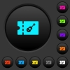 Instrument shop discount coupon dark push buttons with color icons - Instrument shop discount coupon dark push buttons with vivid color icons on dark grey background