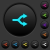 Split arrows dark push buttons with color icons - Split arrows dark push buttons with vivid color icons on dark grey background