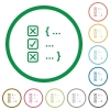 Source code checking flat icons with outlines - Source code checking flat color icons in round outlines on white background