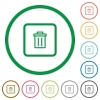 Delete object flat icons with outlines - Delete object flat color icons in round outlines on white background