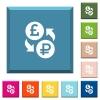 Pound Ruble money exchange white icons on edged square buttons - Pound Ruble money exchange white icons on edged square buttons in various trendy colors