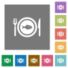 Fish for lunch square flat icons - Fish for lunch flat icons on simple color square backgrounds