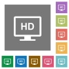 HD display flat icons on simple color square backgrounds - HD display square flat icons