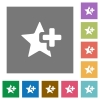 Add star square flat icons - Add star flat icons on simple color square backgrounds