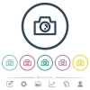 Camera flat color icons in round outlines - Camera flat color icons in round outlines. 6 bonus icons included.