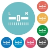 Audio balance control flat round icons - Audio balance control flat white icons on round color backgrounds