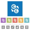 Euro Pound money exchange flat white icons in square backgrounds - Euro Pound money exchange flat white icons in square backgrounds. 6 bonus icons included.