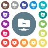 FTP root directory flat white icons on round color backgrounds - FTP root directory flat white icons on round color backgrounds. 17 background color variations are included.