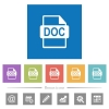 DOC file format flat white icons in square backgrounds - DOC file format flat white icons in square backgrounds. 6 bonus icons included.