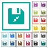 Compress file flat color icons with quadrant frames on white background - Compress file flat color icons with quadrant frames