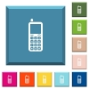 Retro mobile phone white icons on edged square buttons - Retro mobile phone white icons on edged square buttons in various trendy colors