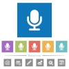 Single microphone flat white icons in square backgrounds - Single microphone flat white icons in square backgrounds. 6 bonus icons included.