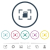 Camera memory card flat color icons in round outlines - Camera memory card flat color icons in round outlines. 6 bonus icons included.