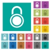 Locked round padlock square flat multi colored icons - Locked round padlock multi colored flat icons on plain square backgrounds. Included white and darker icon variations for hover or active effects.