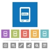 Mobile pin code flat white icons in square backgrounds - Mobile pin code flat white icons in square backgrounds. 6 bonus icons included.